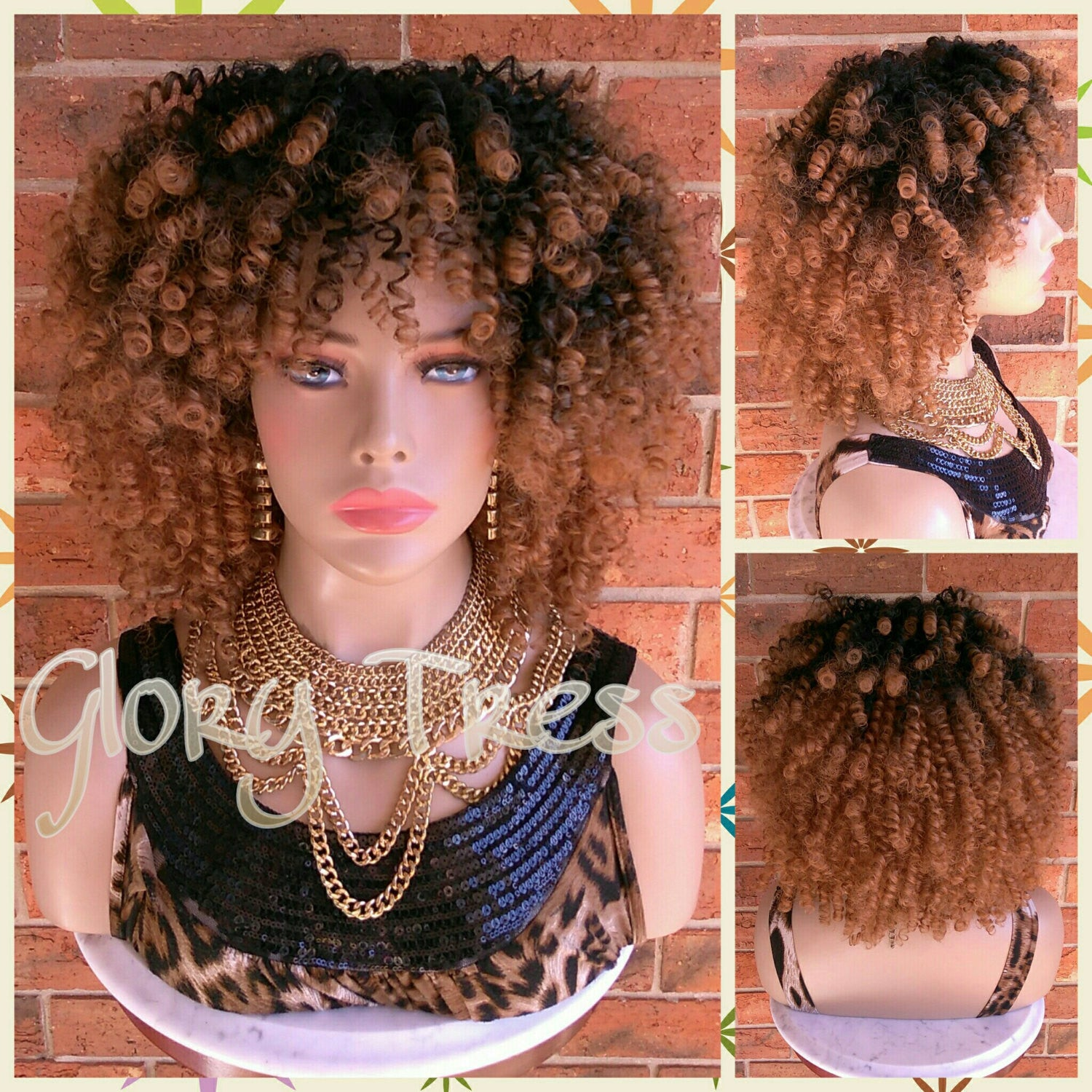 ON SALE // Kinky Curly Half Wig, Ombre Blonde Wig, Big Curly Afro Wig With Bangs, African American Wig // SINCERE - Glory Tress