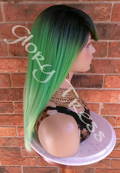 READY To SHIP //Long & Straight Full Wig, Ombre Green Wig, Layered Wig, Dark Rooted, Yaki Textured Wig // VIRTUE (Free Shipping) - Glory Tress