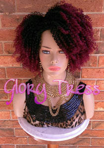 ON SALE // Kinky Curly Half Wig, Ombre Burgundy Wig, Big Curly Afro Wig, African American Wig // GOOD - Glory Tress