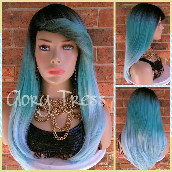 READY To SHIP //Long & Straight Full Wig, Ombre Mint Green Wig, Green Wig, Dark Rooted, Yaki Textured Wig // VIRTUE (Free Shipping) - Glory Tress