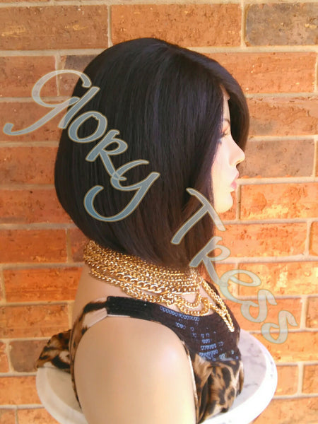 ON SALE // Short & Sassy Bob Lace Front Wig, Yaki Straight Bob Wig, Dark Brown Bob Wig, Natural Yaki Texture // GREAT (Free Shipping) - Glory Tress