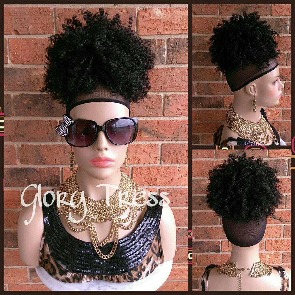 On Sale Kinky Curly Afro Drawstring Ponytail Black Ponytail