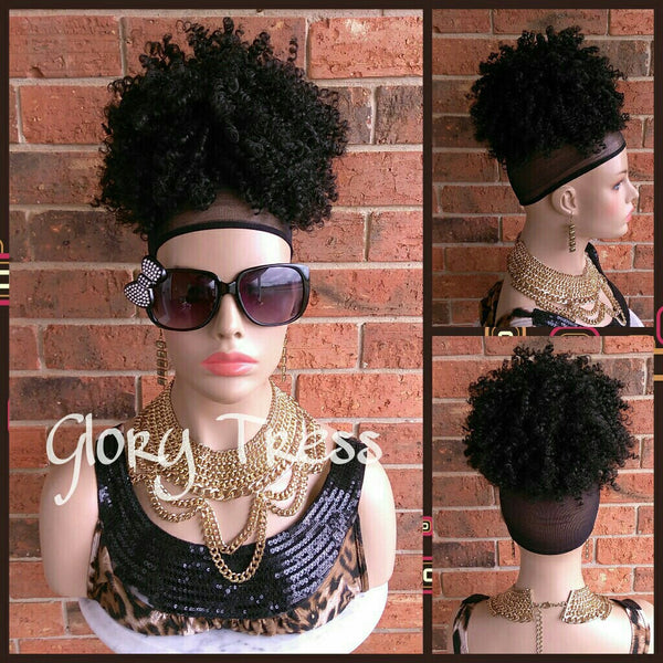 ON SALE // Kinky Curly Afro Drawstring Ponytail, Black Ponytail Extensions, African American Hairstyle // Lily - Glory Tress