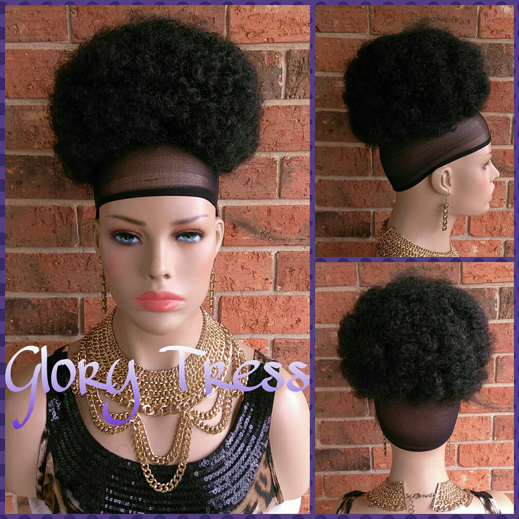 READY To SHIP// Kinky Curly Afro Drawstring Ponytail, Black Afro Puff - Glory Tress
