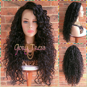 ON SALE // Long Beach Curly Lace Front Wig, 100% Brazilian Human Hair Blend, Big Curly Wig, Free Parting,  // CRYSTAL (Free Shipping) - Glory Tress