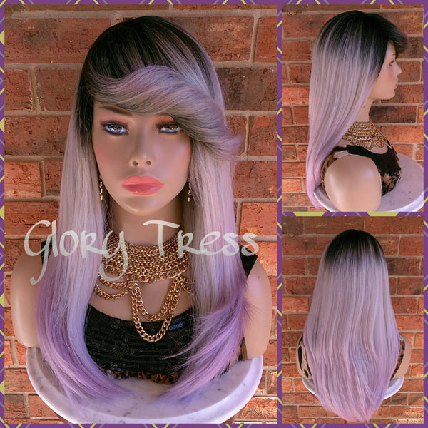 READY To SHIP //Long & Straight Full Wig, Ombre Lavender Wig, Purple Wig, Dark Rooted, Yaki Textured Wig // VIRTUE (Free Shipping) - Glory Tress