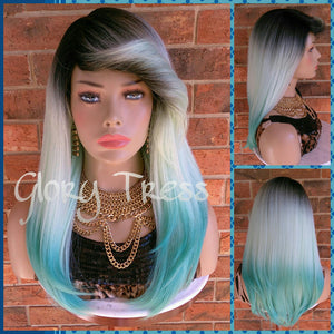 READY To SHIP //Long & Straight Full Wig, Ombre Light Mint Green Wig, Green Wig, Dark Rooted, Yaki Textured Wig // VIRTUE (Free Shipping) - Glory Tress