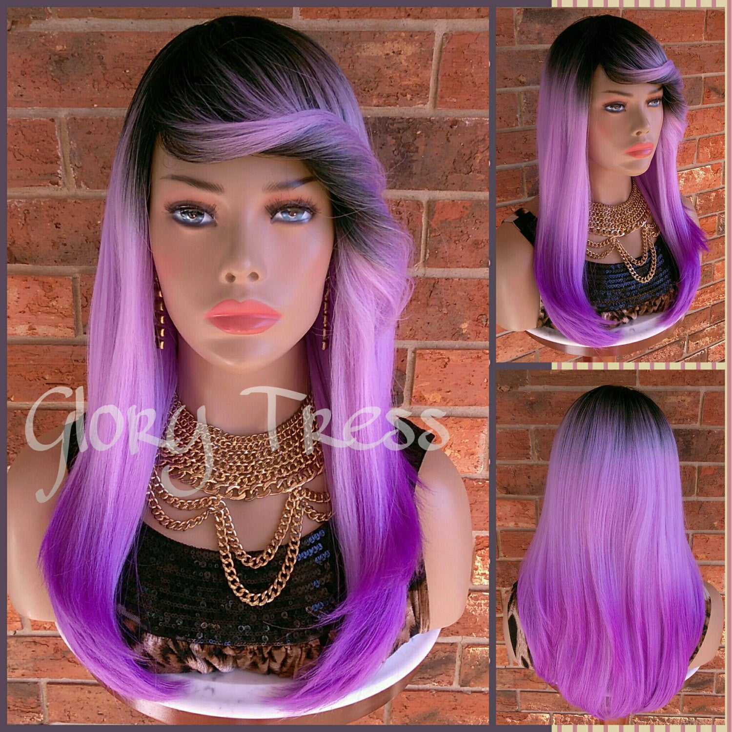 READY To SHIP //Long Ombre Purple Full Wig, Layered Wig With Bangs, Dark Rooted, Light Yaki Textured Wig// VIRTUE (Free Shipping) - Glory Tress