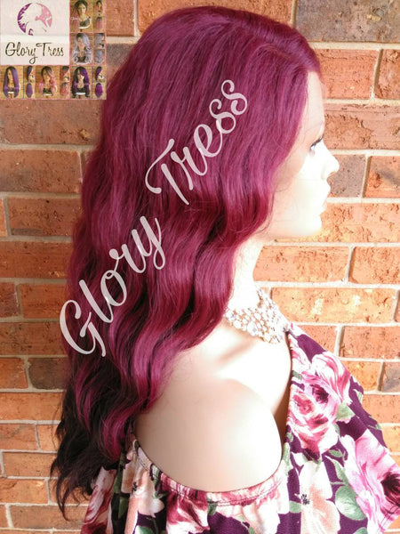 Wavy Lace Front Wig, Ombre Burgundy Wig, Body Wavy Wig, Heat Safe // GIFT