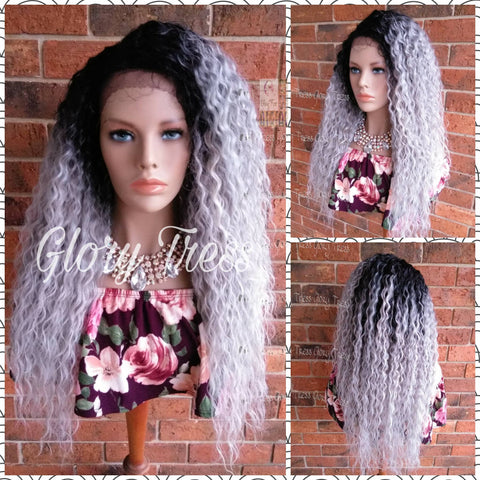 Silver Gray Lace Front Wig, Long Deep Wavy Wig, Ombre Platinum Silver Wig, Wigs, Soft Swiss Lace // STORMY