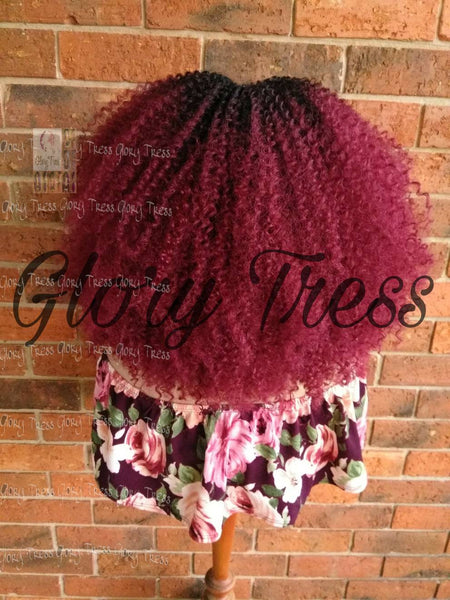ON SALE // Kinky Curly Lace Front Wig, Big Curly Afro Wig, Ombre Burgundy Curly Wig//GRAND