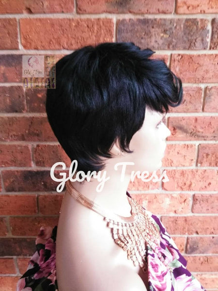 Short Razor Cut Full Wig, Pixie Cut Hairstyle, Short Green Wig, Black Wig, READY To SHIP // DEMAND