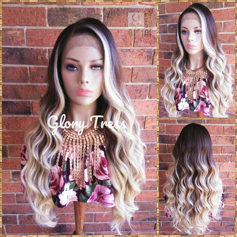ON SALE // Long & Wavy Lace Front Wig, Pre -Plucked Hairline, 100% Human Blend Wig, Ombre Blonde Wig, 13 x 4 Free Parting // LUXURY