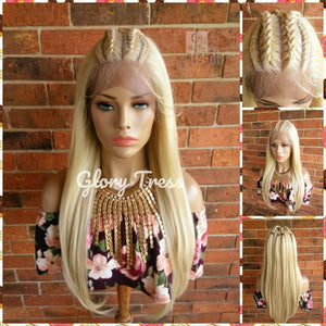 Long & Straight Lace Front Wig, 100% Human Blend Wig, 613 Platinum Blonde Wig, 13x4 Free Parting, Braided Corn Row Wig, READY To SHIP//FAITH