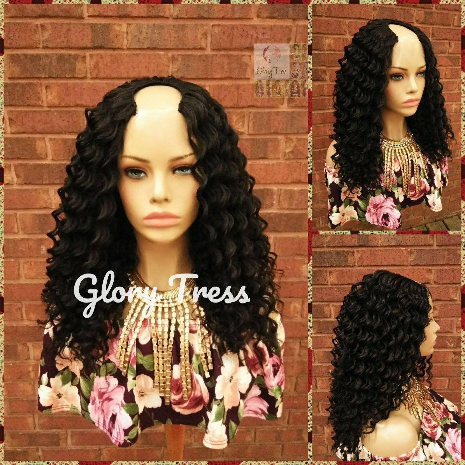 Curly Crochet U Part Wig, Natural Curly Wig, Deep Wave Wig, Glory Tress Wigs, African American Wig, READY To SHIP // DELIVERED