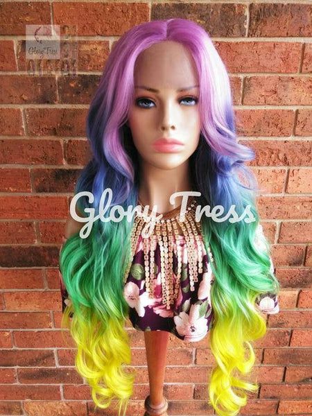 Wavy Lace Front Wig - Blonde Wig - Glory Tress - Ombre Wig - Rainbow Wig- Body Wave - Unicorn Haircolor - Pastel - READY To SHIP//RAINBOW
