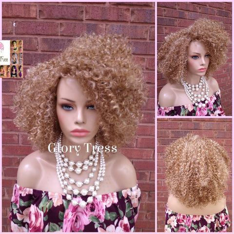 NEW ARRIVAL // Kinky Curly Wig, Short Curly Half Wig, Big Natural Afro Wig, African American Wig, Blonde Wig, Glory Tress Wigs // TRUST