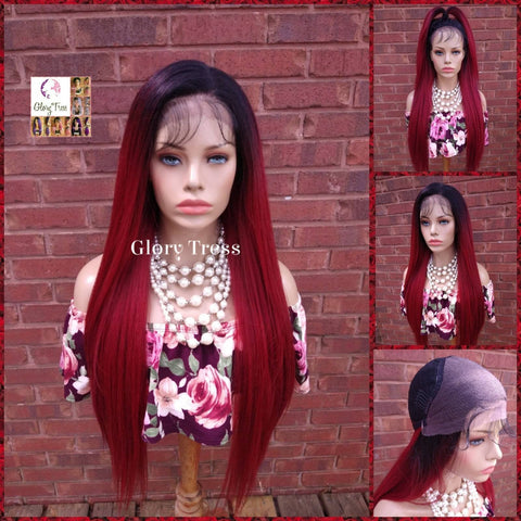 NEW ARRIVAL // Long & Straight Lace Front Wig, 100% Human Blend Wig, Ombre Red Wine Wig, 13 x4 Free Parting, Soft Swiss Lace // RUBY