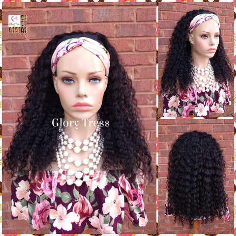 NEW ARRIVAL // Headband Half Wig, 100% Human Remy Hair - Kinky Curly Wig - Black Wig - Glory Tress Wigs - African American Wig // FAITH