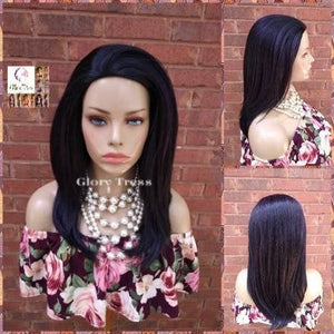 CLEARANCE // Yaki Straight Half Wig,   Natural Kinky Straight Wig, Purple & Black Wig, African American Wig,  Headband Half Wig // SECURITY