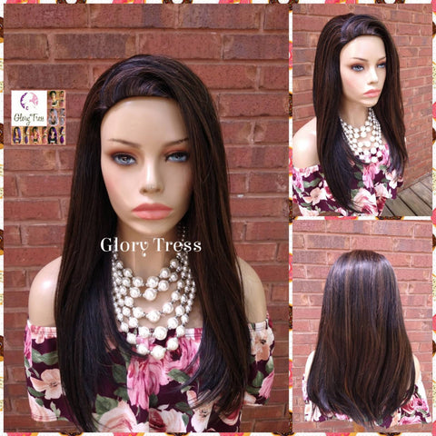 CLEARANCE // Yaki Straight Half Wig, Black With Auburn Highlights, African American Wig,  Headband Half Wig, Glory Tress Wigs // SECURITY