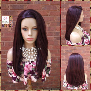 CLEARANCE // Yaki Straight Half Wig, African American Wig, Headband Half Wig, Dark Cherry Wig, Glory Tress Wigs // SECURITY