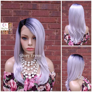 NEW ARRIVAL // Straight Lace Front Wig, Ombre Wig, Glory Tress Wigs,  Ombre Platinum Silver, Gray Wig, Ready To Ship // GRACE