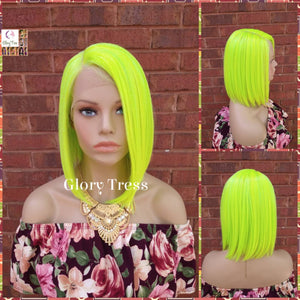 NEW ARRIVAL // Neon Green Bob Wig, Green Wig, Straight Bob Lace Front Wig, Glory Tress, Halloween Wig, Heat Safe // BEHOLD