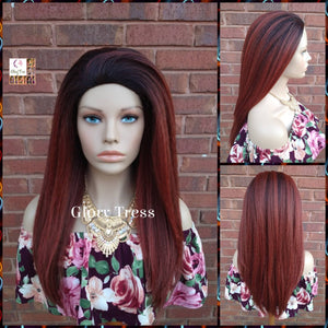 NEW ARRIVAL // Half Wig - Yaki Straight Half Wig - Copper Red Wig, Beginner Friendly Wig, Glory Tress Wigs - African American Wig //GREAT