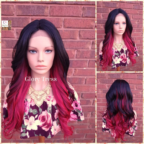 NEW ARRIVAL // Curly Lace Front Wig, Glory Tress Ombre Red Wig, Yaki Texture, African American Wig,  Ready To Ship // LOVE