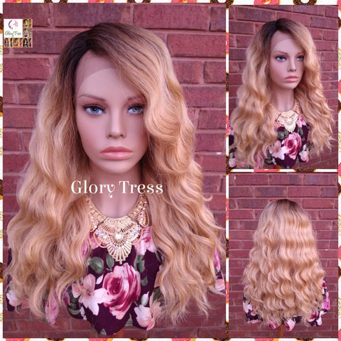 Lace Front Wig -  Blonde Wig - Glory Tress - Wigs - Wavy Wig- Ombre Wig -  Golden Platinum Blonde Wig -  ON SALE // ZION
