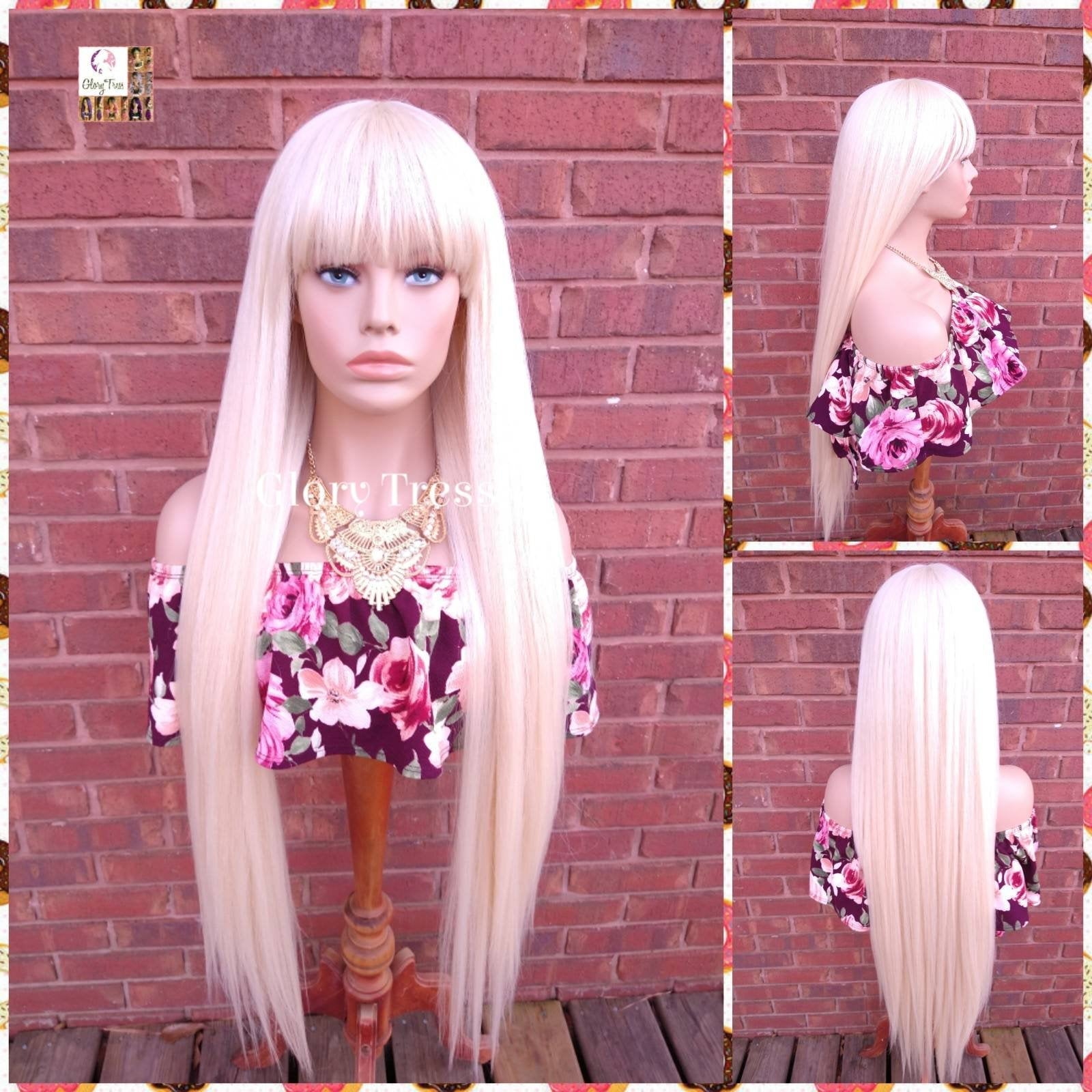NEW ARRIVAL // Extra Long Full Wig, Wig with China  Bangs, 613 Platinum Blonde Wig, Glory Tress Wigs, Yaki Texture // NOBLE