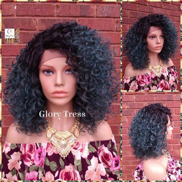 NEW ARRIVAL // Curly Lace Front Wig, Ombre Teal Green Wig, Glory Tress, African American Wig, Kinky Curly Wig, On Sale // STUNNING