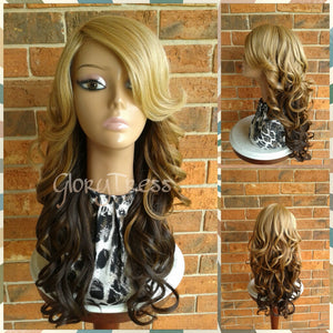 CLEARANCE // Long & Curly Full Cap Wig, Ombre Golden Blonde Wig, Side Swoop Bangs //  HEAVEN (Free Shipping) - Glory Tress