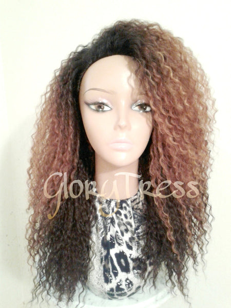 ON SALE // Celebrity Inspired Hairstyle, Kinky Curly Half Wig, Long Curly Afro Wig , Ombre Blonde Wig //  QUEEN - Glory Tress