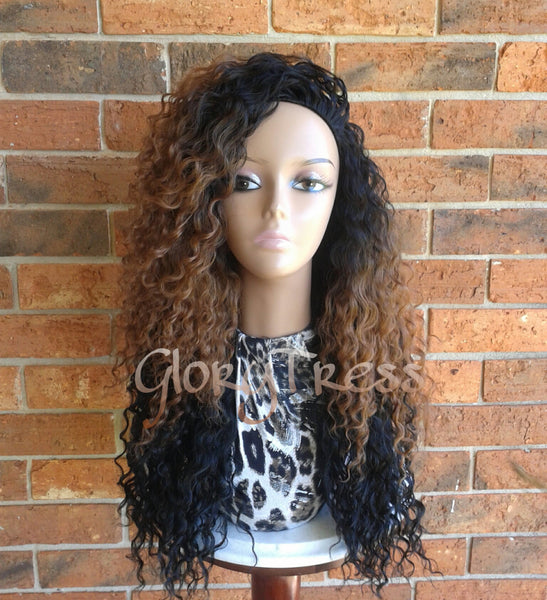 ON SALE // Long Kinky Curly Half Wig, Ombre Wig,  Long Beach Curly Afro Wig, African American Wig // LIFE - Glory Tress