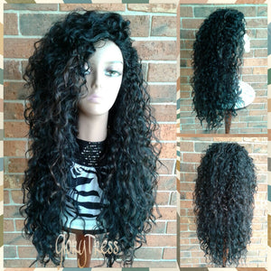 CLEARANCE // Long Beach Curly Half Wig, Kinky Curly Wig, Long Black Wig // COURAGE - Glory Tress