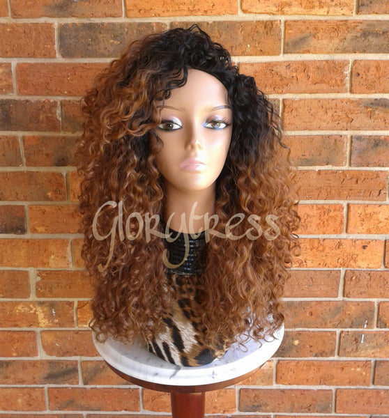 ON SALE  //Big Kinky Curly Half Wig, Ombre Wig, Beach Curly Afro Wig, African American Wig // AMAZING - Glory Tress