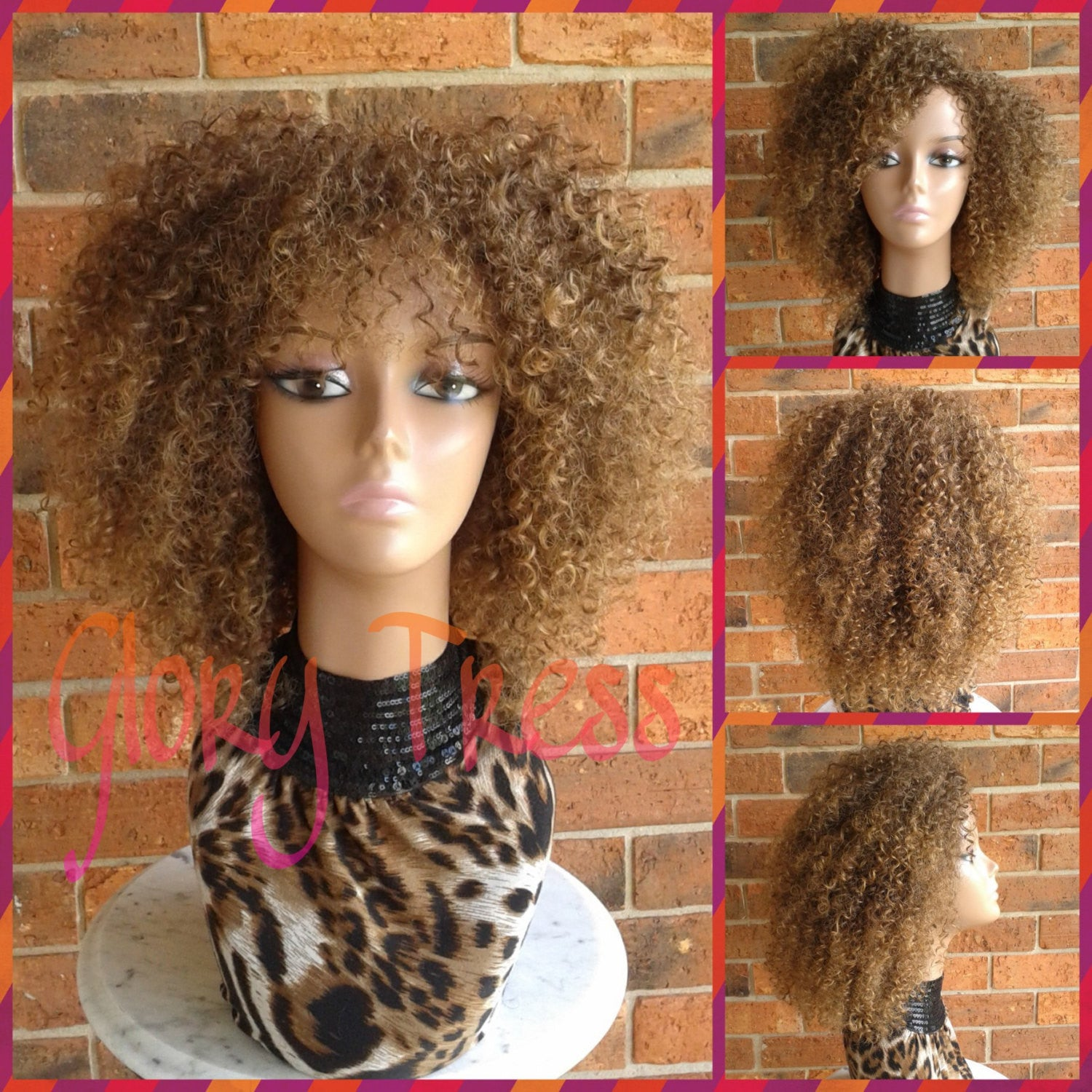 ON SALE // Kinky Curly Wig With Bangs, Short Curly Half Wig, Big Natural Afro Wig, African American Wig // TRUST2 - Glory Tress