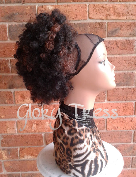 ON SALE // Kinky Curly Afro Drawstring Ponytail, Ombre Ponytail Extensions, African American Hairstyle // ROSE - Glory Tress