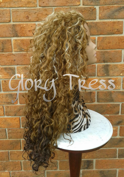 CLEARANCE //Celebrity Inspired Hairstyle, Long Kinky Curly Half Wig, Wig, Curly Blonde Wig // COURAGE - Glory Tress
