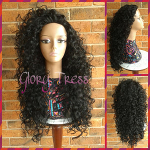 ON SALE // Long Curly Half Wig, Big Curly Wig, Long Black Wig, Kinky Curly Wig // PROMISE - Glory Tress