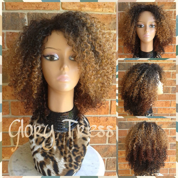ON SALE // Kinky Curly Wig, Short Curly Half Wig, Big Natural Afro Wig, African American Wig // TRUST - Glory Tress