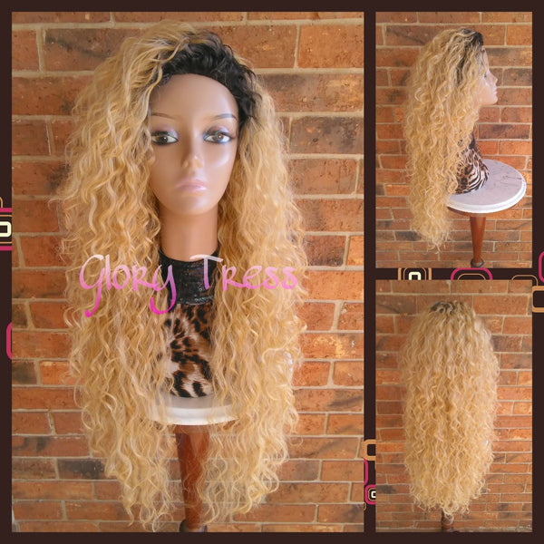 ON SALE // Long Beach Curly Half Wig, Kinky Curly Wig, Long Ombre Platinum Blonde Wig // FOREVER - Glory Tress