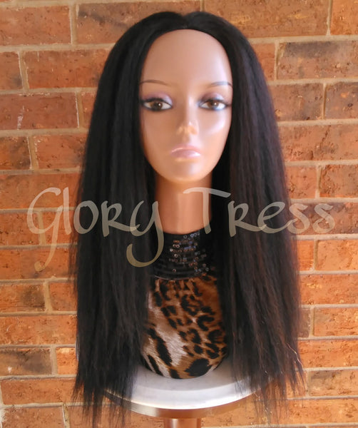 ON SALE // Kinky Straight Half Wig,   Natural Yaki Straight Wig, African American Wig // SECURE - Glory Tress