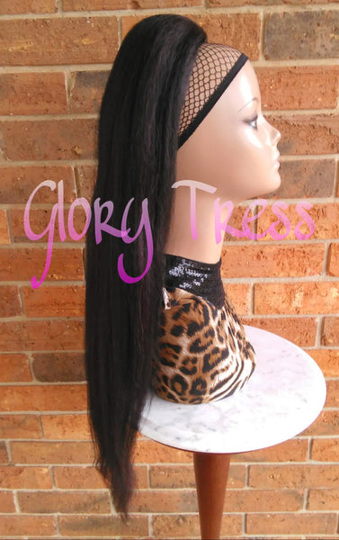 ON SALE // Long & Straight Ponytail, Drawstring Ponytail, Hair Piece, Yaki Texture,  Heat Safe // KIND - Glory Tress