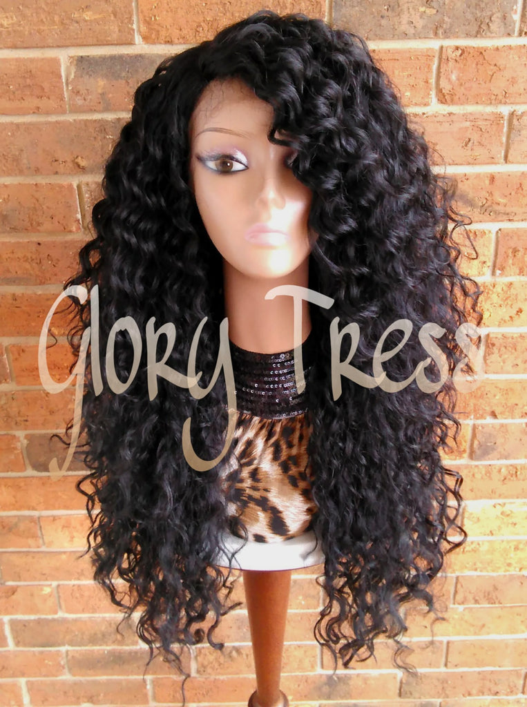 ON SALE // Long Beach Curly Lace Front Wig, Black Curly Wig, Big ...