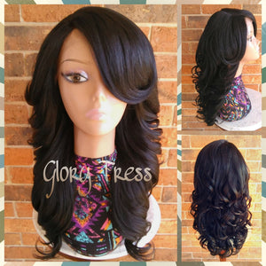 READY To SHIP // Long & Curly Lace Front Wig, Black Bombshell Wig // SALVATION (Free Shipping) - Glory Tress