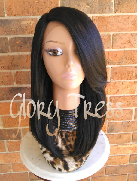 ON SALE // Kinky Straight Lace Front Wig, Natural Yaki Straight Wig, Blown Out Hairstyle, African American Wig //FUTURE (Free Shipping) - Glory Tress
