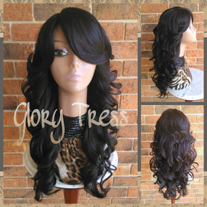 CLEARANCE // Beautiful Wavy/Curly Full Cap Wig, Long Dark Brown Wig, Wedding Hairstyle // HEAVEN - Glory Tress
